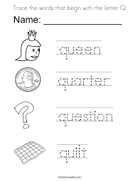 Small Picture Trace the words that begin with the letter Q Coloring Page