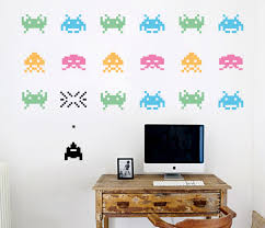 space invaders on wall art decals nz with space invaders your decal shop nz designer wall art decals