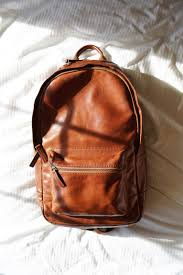 brown leather backpacks for school
