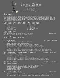 3d Animator Resumes Johnny Santos 3d Character Animator Resume
