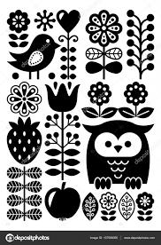フィンランド風民芸パターン 北欧北欧スタイル 白黒 ストック