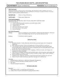 Hotel Manager Jobription Template Maintenance Sample Sales Resume