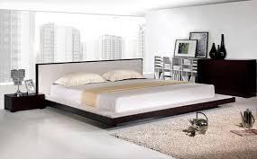 Bedroom:Grey Floor Wooden Bed Frame Hidden Lamps Classic Look Modern  Minimalist Bed On Floor