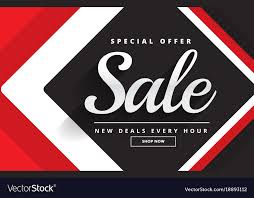 Red Black Awesome Sale Banner Template Design For Vector Image