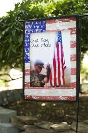 our son our hero custom patriotic garden flag from flagology com add your