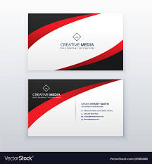 Red Design Company Red Business Card Design With Wave Effect