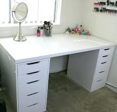 white makeup vanity with lights. trendy white minimalist makeup vanity and storage ikea linnmon alex a long table top with lights