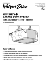 chamberlain garage door opener manualChamberlain Whisper Drive Security HD900CD Manuals