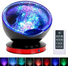 Magic Living Led Push Light Ocean Wave Projector Night Light Lamp With Adjustable Lightness Remote Control Timer 8 Lighting Modes Music Speaker Light Show Led Night Light