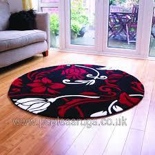 infinate damask red cream circle rug 135 x 135cm