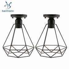 2pcs retro wire diamond pendant ceiling light cage lamp shade lounge lighting 110 220v