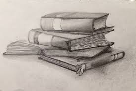 1136x760 graphite drawing of stacked books fun to draw drawing