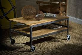 Wood And Metal Coffee Table On Wheels | Coffee Tables Decoration throughout Rustic  Coffee Table With