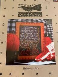 Details About Birds Of A Feather Halloween Fun Cross Stitch Sampler Chart Primitive Pattern