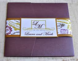 Wedding Invitation Folder Pocket Fold Wedding Invitation Design Fee Monogram Passport Stamps Design