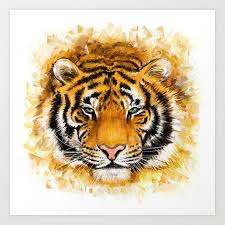 artistic tiger face art print by