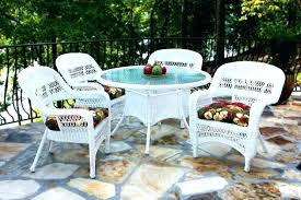 outdoor wicker dining table with glass top white cane dining chairs white wicker patio dining set