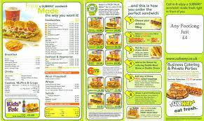 subway menu 2013. Modren Menu Subway Menu For 2013 W