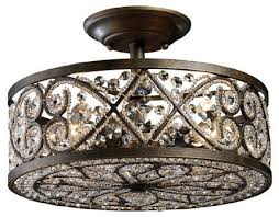 elk lighting amherst transitional crystal semi flush mount ceiling light x 4 682