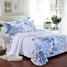 blue cotton quilt. Brilliant Blue 100 Cotton 3Piece Blue Floral Pattern Country Patchwork Bedspreads Quilt  Set Fit Queen To S