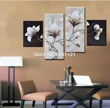 simple acrylic canvas painting ideas of flowers 4 panels group oil painting on canvas flowers black