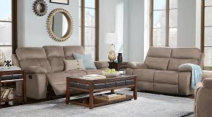 brown and blue living room. Corrine Stone Living Room Set Beige Reclining Sofa With Blue Accent Pillows And Blanket, Brown Coffee End Table