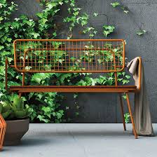 garden bench contemporary painted metal with backrest oplÀ d