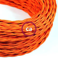 Fabric lighting cord Linen Fabric Fabric Lighting Cord Twisted Electric Cable Covered By Rayon Solid Colour Orange Electrical Covers Full Size Picclick Uk Fabric Electrical Cord Covers Houstonkelley