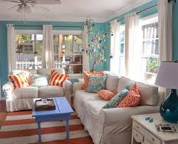 Orange Living Room Decor Orange And Teal Toss Pillows For Classic Beach Themed Living Room