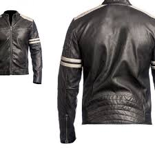 arrow mens leather jacket black slim fit biker vintage motorcycle cafe racer iouhd