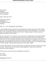 Dog Walking Cover Letter The Best Letter