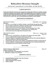 Examples Of Resume For High School Students Babysitter Resume Sample