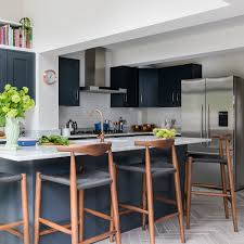Kitchen islands with breakfast bar Modern Kitchen Kitchenmakeoverwithrepaintedgreyunitsandisland Ideal Home Kitchen Makeover With Repainted Grey Units And Island Breakfast Bar