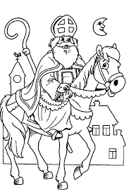 Sinterklaas Kleurplaat Sint Paard Staf Maan Huizen Bomboane