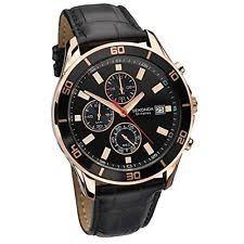 sekonda mens chrono watch new sekonda 1051 night fall mens chrono rose gold dial black leather strap watch