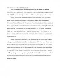 judicial activism vs judicial self restraint essay similar essays