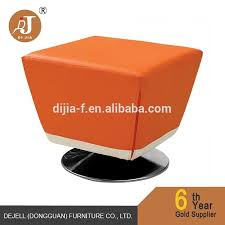 modern swivel removable cover orange pu leather cub footstool ottoman