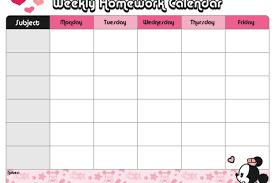 Weekly Homework Minnies Weekly Homework Calendar Disney Family
