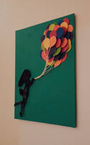 3d one of a kind upcycled art on 10x8 canvas girl is hand cut from a vinyl record is flying away on balloons created from paint swatches