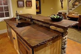 stone kitchen countertops. Natural Stone Kitchen Countertops For Rustic Decoration With Yellow Wall Paint Color Schemes