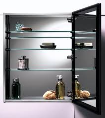 stainless steel wall mounted modern bathroom storage cabinet with glass shelves for small bathroom spaces ideas