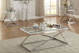 poundex silver finish 3 pc glass top coffee end table set