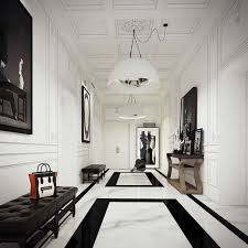 black and white tile floor. This Hallway Marble Floor Is Quite Voguish With The Thin Black Border And Rectangles Negative Space. White Tiles Tile