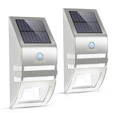 prozor 2 piece wireless solar light garden outdoor wall lights with pir motion sensor super