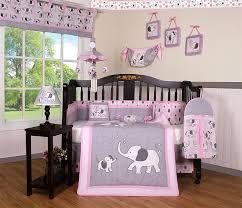 com boutique baby pink gray elephant 14 pieces nursery crib