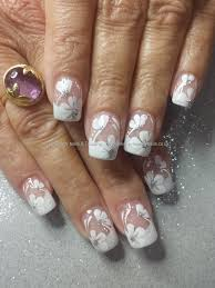 White acrylic tips with one stroke flower nail art | Fingers and ...