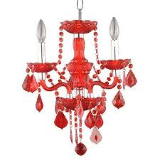 3 light maria theresa chrome red acrylic chandelier