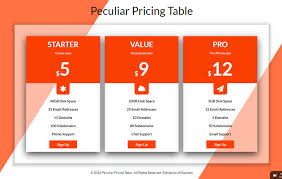 Pricing Template Peculiar Pricing Table Responsive Widget Template