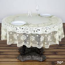 round plastic tablecloth 70 034 with crocheted lace