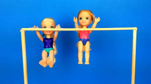 gymnastics cl elsa and anna toddlers learn new tricks barbie is the coach exercises